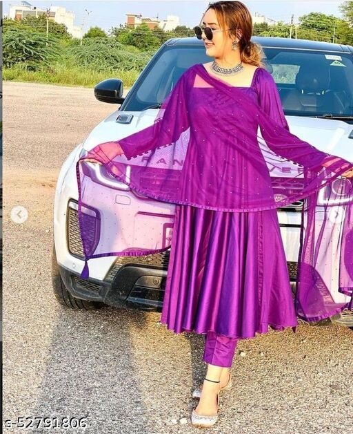 Women Teffeta silk  Purple gwon