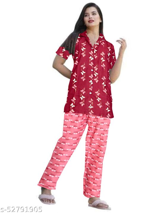 PINKCITY Women Rayon Night Wear Printed Night Suit