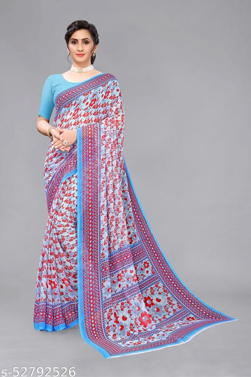Light Blue Georgette Floral Printed Saree With Blouse.