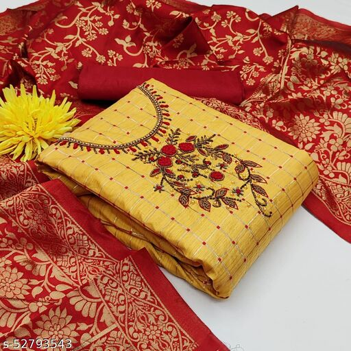 Krishnam Fashion Pure Bamboo checks Desighn and Khatali work and Jacquard Woven Salwar Suit Material  (Unstitched)(YELLOW/RED)