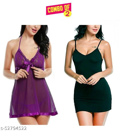Women Fancy Solid Baby Doll Dresses Black and Purple Color