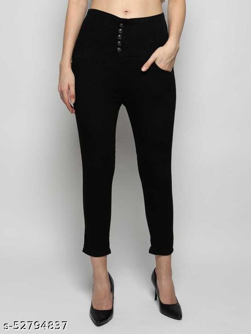 high quality silky fabric 5 buttons ladies jeans of carbon black color