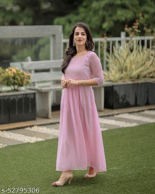 Baby pink Georgette Dress With Pearl