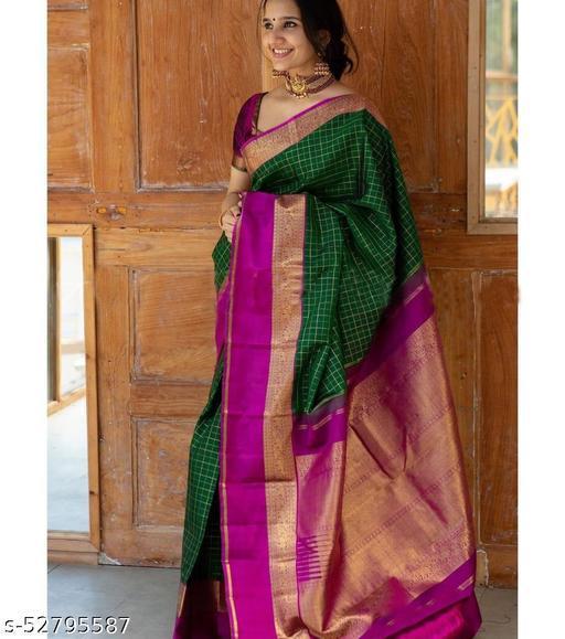 Woven Aura Banarasi Silk Plain Zari Border Diwali Special Saree With Blouse Piece
