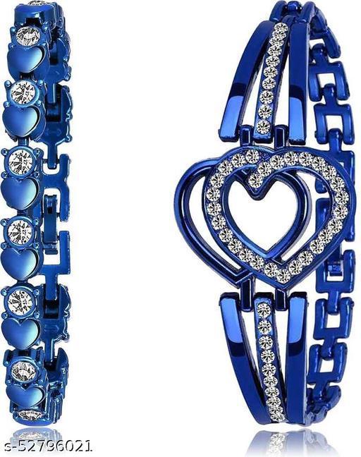 Diamond heart bracelets Blue