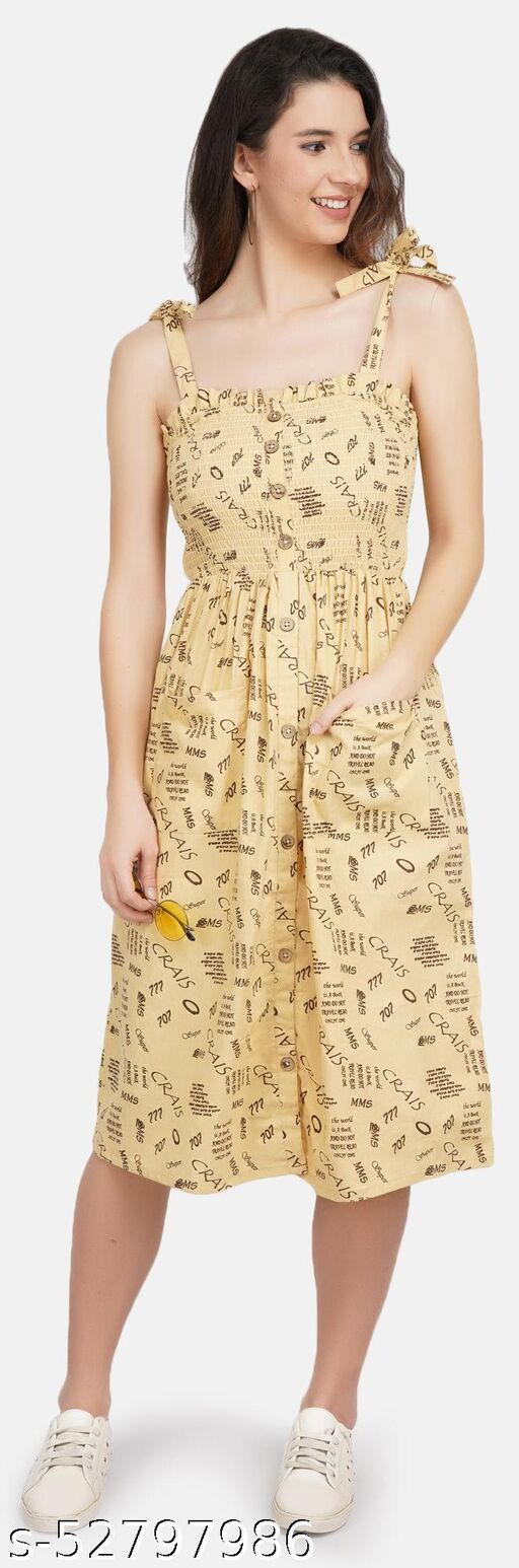 JAAIVE Beige Shoulder Straps Sleeveless with Smoking Above Knee Length Dress for Women Women Dress Dress for Women Girl Dress Dress for Girl Dresses Dress Casual Dress Beige Dress