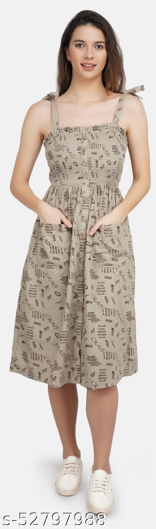 JAAIVE Grey Shoulder Straps Sleeveless with Smoking Above Knee Length Dress for Women Women Dress Dress for Women Girl Dress Dress for Girl Dresses Dress Casual Dress Grey Dress