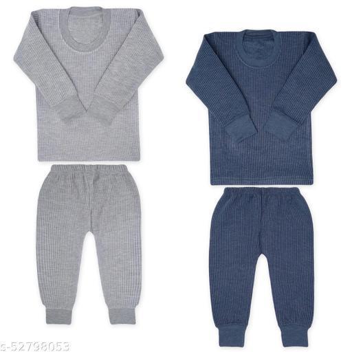 Moreno Kids Thermal winter wear full sleeves body warmer top and pyjama set for boys & girls