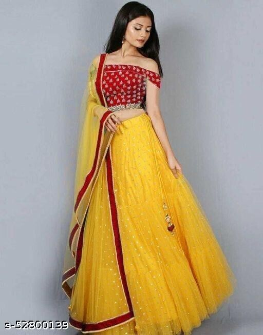 New Arrival Design Yellow Colour Net Lehenga Choli With Heavy Blouse Piece For Women