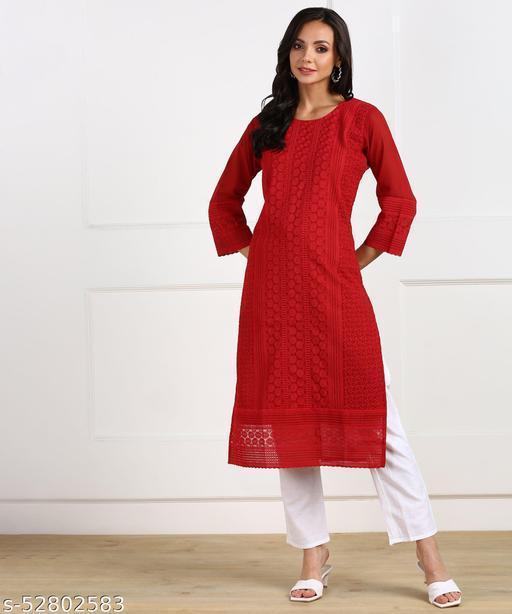 Georgette fabric women wear chikankari kurti