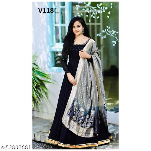 Engrossing Black Colored Designer Partywear Embroidered Gown with Jacquard Dupatta