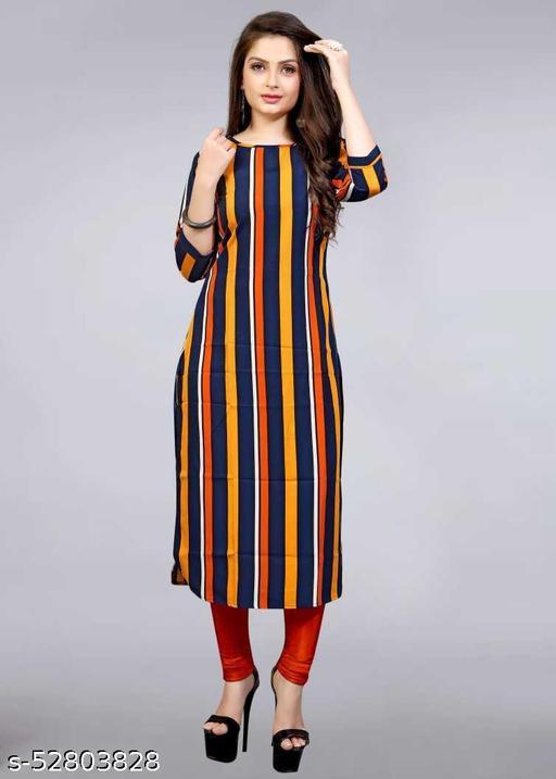 striped casual daily wear straight apple cut stylist kurti