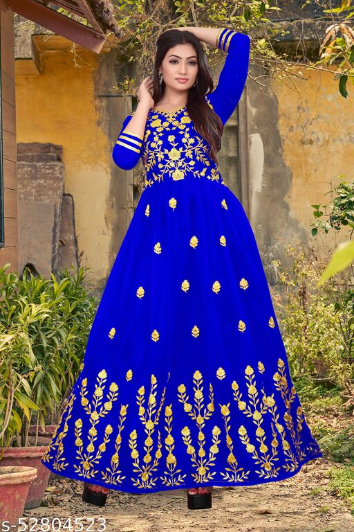 Anarkali  Heavy Embroidery Work Net Semi-Stitched Long Gown