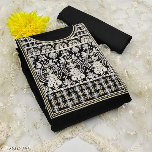 Krishnam Fashion Heavy Cotton Embroidered Salwar Suit Material  (Unstitched)(BLACK)