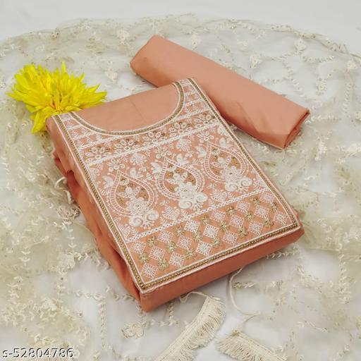 Krishnam Fashion Heavy Cotton Embroidered Salwar Suit Material  (Unstitched)(Beige)