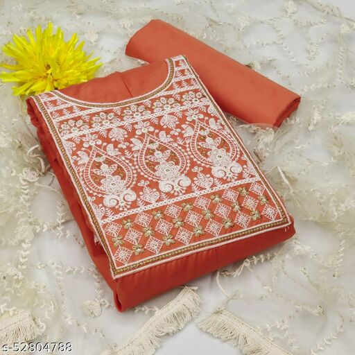 Krishnam Fashion Heavy Cotton Embroidered Salwar Suit Material  (Unstitched)(CORAL)