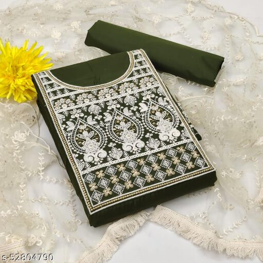 Krishnam Fashion Heavy Cotton Embroidered Salwar Suit Material  (Unstitched)(MEHENDI )