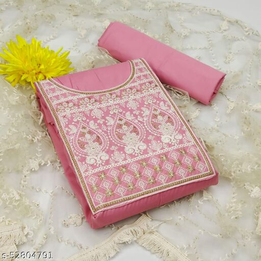 Krishnam Fashion Heavy Cotton Embroidered Salwar Suit Material  (Unstitched)(PINK)