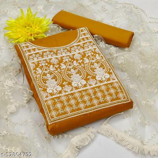 Krishnam Fashion Heavy Cotton Embroidered Salwar Suit Material  (Unstitched)(Mustard)