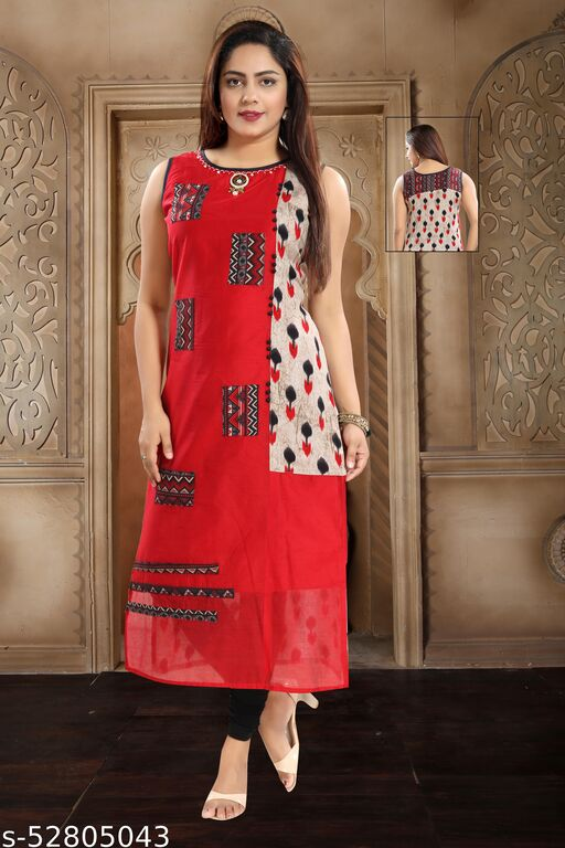 Chanderi Silk Casual Kurti in Red and Maroon with Printed work