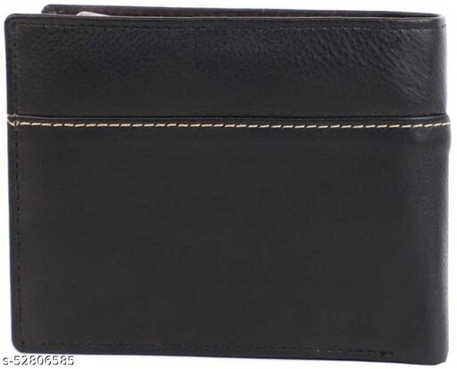 Men Black Genuine Leather RFID Wallet 3 Card Slot 2 Note Compartment