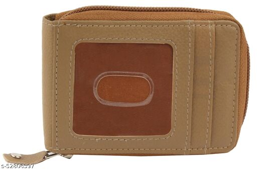 Men Brown Genuine Leather RFID Card Holder 10 Card Slot 1 Note Compartment