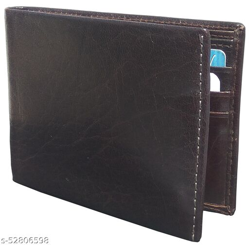 Men Brown Original Leather RFID Wallet 6 Card Slot 2 Note Compartment