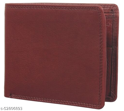Men Brown Pure Leather RFID Wallet 7 Card Slot 2 Note Compartment