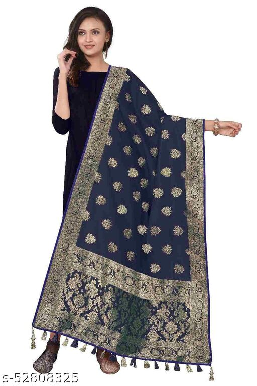 Jacquard Woven Floreal Cream Banarasi Silk Dupatta_Chunni (Length2.20 meter & Width:34 inch)