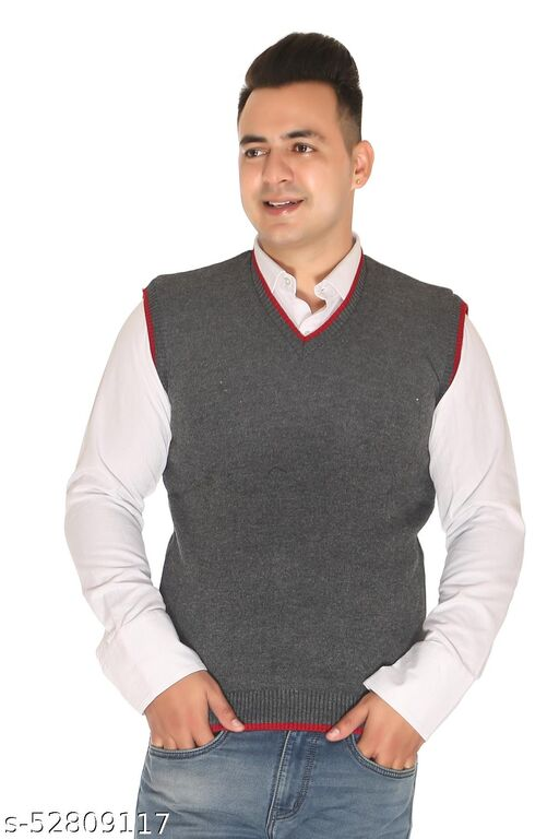 """Om Designer Mens Plain V-Neck Sleeveless Sweater for Men,100% Wool Sweater, Office Use Sweater Choose According 5 Colour Available M=38"""",L=40"""",XL=42"""
