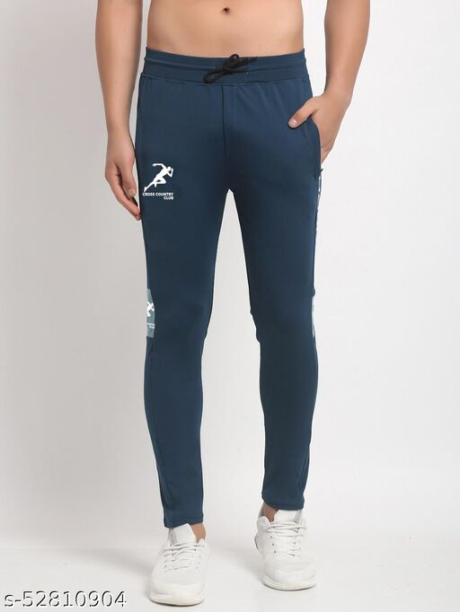 Men's Navy Cross Country Club Dry Fit Four Way lycra Solid Track Pant