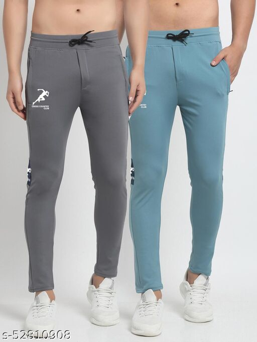 Men's Grey Sky Blue Cross Country Club Dry Fit Four Way lycra Solid Track Pant