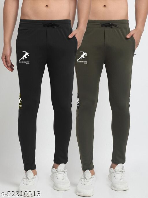 Men's Black Green Cross Country Club Dry Fit Four Way lycra Solid Track Pant
