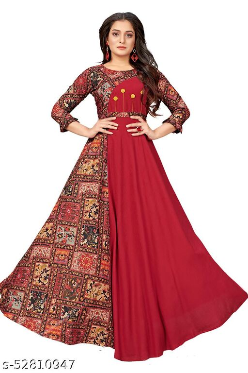 DIP Women's Fit And Flare Fancy Western Cotton Gown Dress