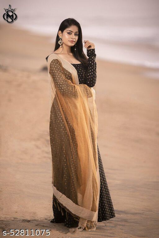 Exclusive nack paterned black colour ready made gown with soft net lace dupatta
