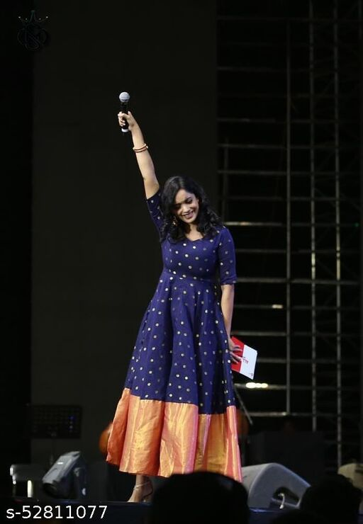 impressive designer dark blue colored with orange bordered designer wear outfit