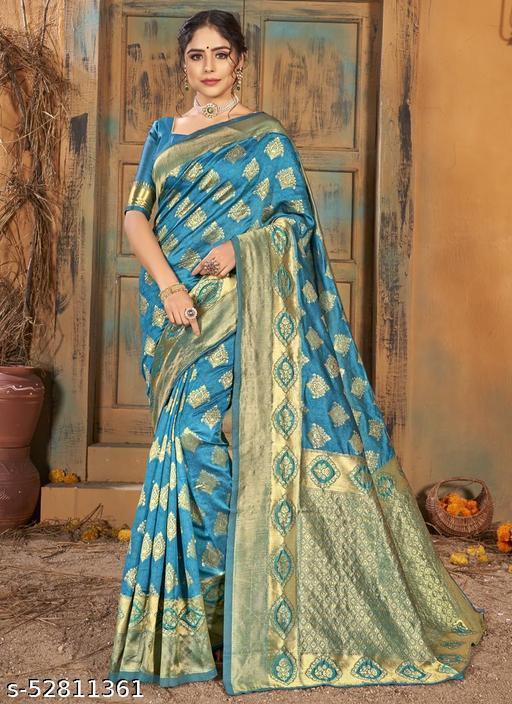 Turquoise Party Wear Designer Woven Saree Sarees