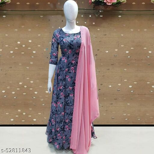 Opulent Flower Printed Grey colored diamond work and Digital Printed Anarkali Gown with Duppata