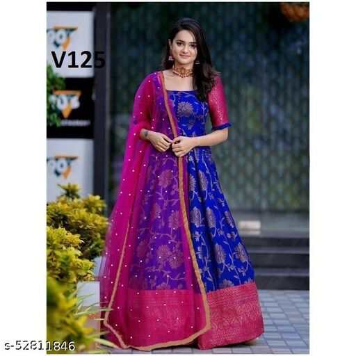Unique Royal Blue Colored Party Wear Jacquard Gown with Moti worked Dupatta