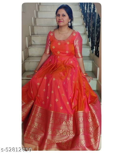 Adorable Red Colored Jacquard Designer Wear Long Gown