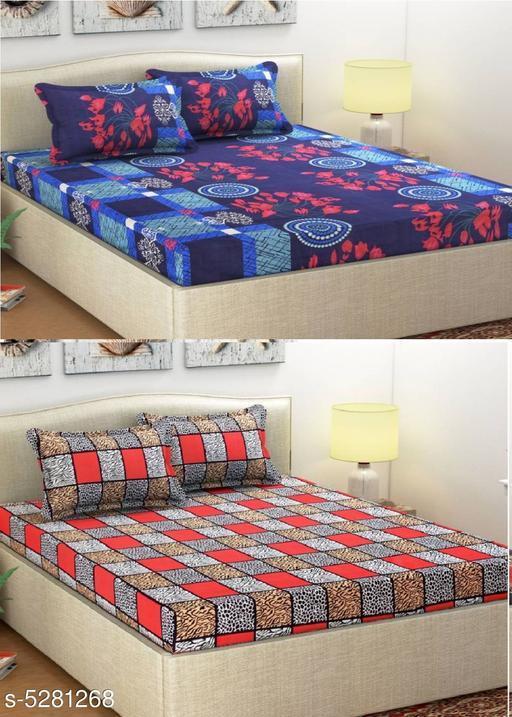 Eva Stylish Polycotton 90 X 90 Double Bedsheets Combo (Pack of 2)