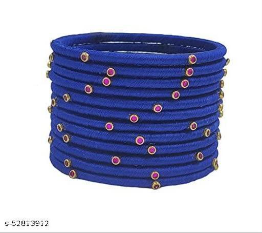 Silk Thread Beautiful Weightless Thin Bangles With Kundan Stones Chuda Bangle Sets For Women