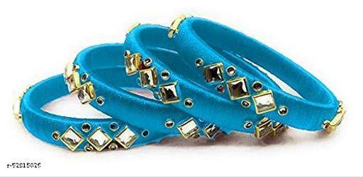 Hand Made Silk Thread Bangles Plastic Zircon Stone Bangle Set for Women & Girls (Sky Blue) (Pack of 4)