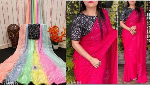 Weightless Pedding & Plain combo saree(2 pcs of one pack)