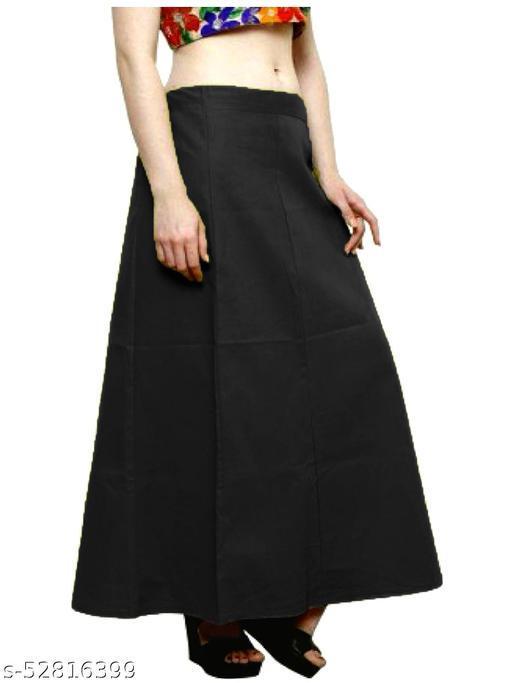 Women's Cotton Petticoat For Saree (Black)