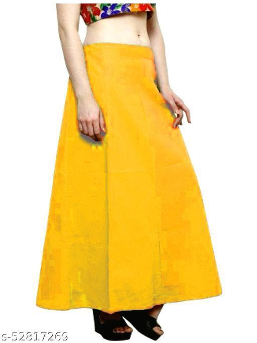 Women's Cotton Petticoat For Sarees (Yellow)