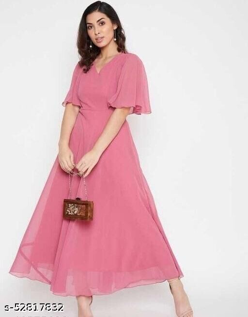 Women Pink Solid Frill Maxi Dress