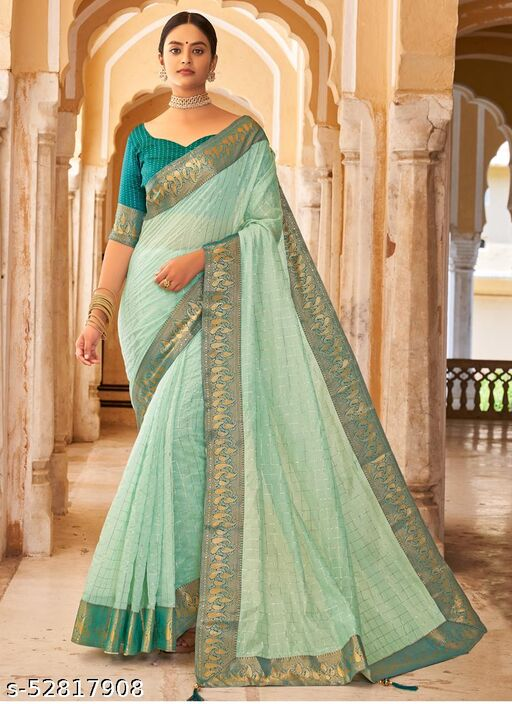 Turquoise Designer Cotton Silk Saree