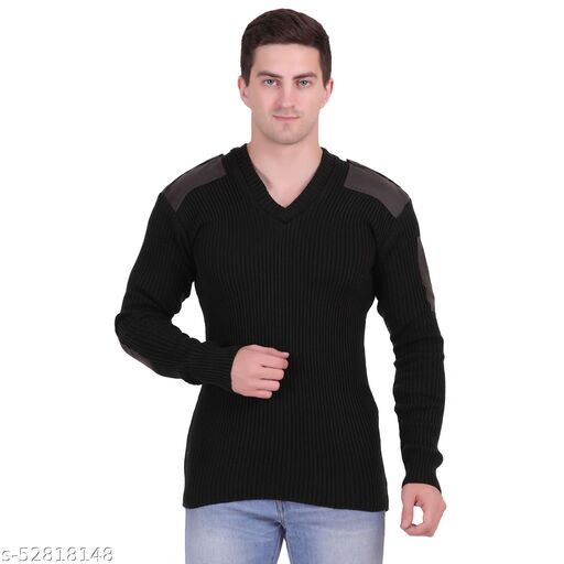 AXOLOTL Military/Army Style Woolen Sweater for Men