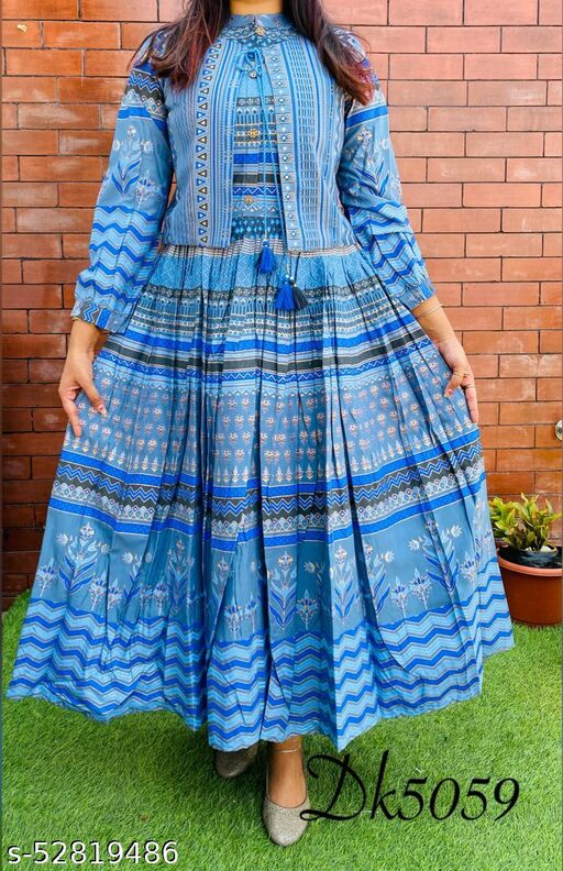 WOMEN'S BRANDED REYON GOLD PRINTED ANARKALI  Gowns WITH JACKET